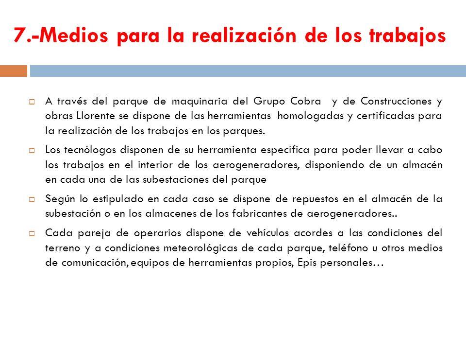 7.-Medios para la realización de los trabajos A través del parque de maquinaria del Grupo Cobra y de Construcciones y obras Llorente se dispone de las