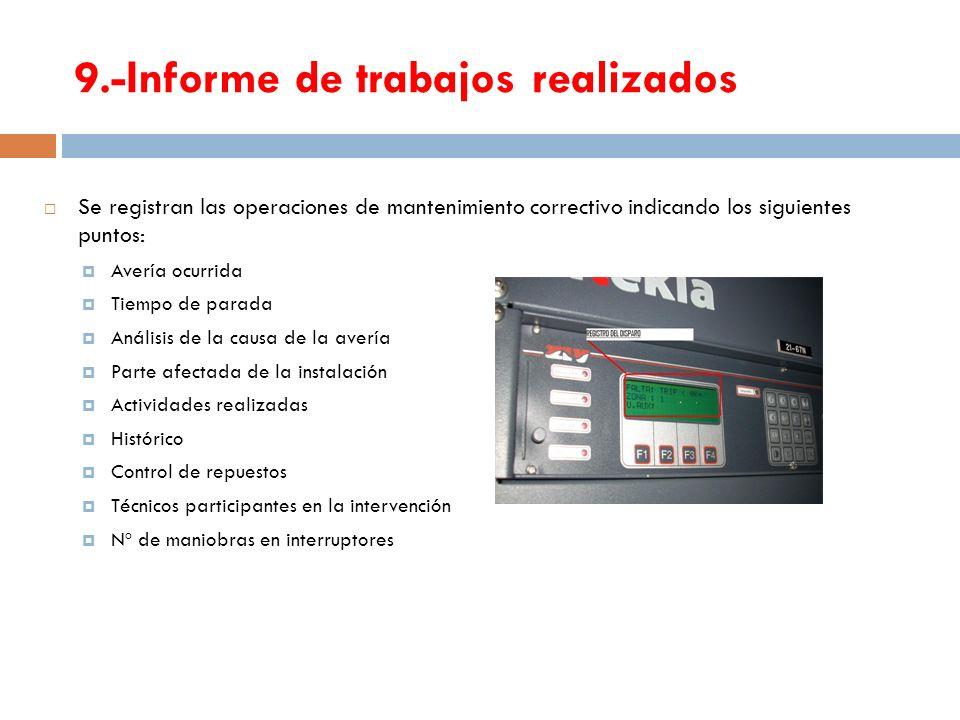 9.-Informe de trabajos realizados Se registran las operaciones de mantenimiento correctivo indicando los siguientes puntos: Avería ocurrida Tiempo de