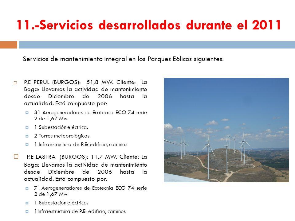 11.-Servicios desarrollados durante el 2011 P.E PERUL (BURGOS): 51,8 MW. Cliente: La Boga: Llevamos la actividad de mantenimiento desde Diciembre de 2