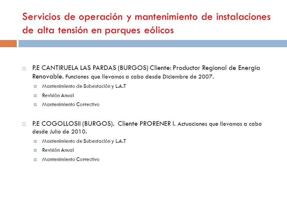 Servicios de operación y mantenimiento de instalaciones de alta tensión en parques eólicos P.E CANTIRUELA LAS PARDAS (BURGOS) Cliente: Productor Regio