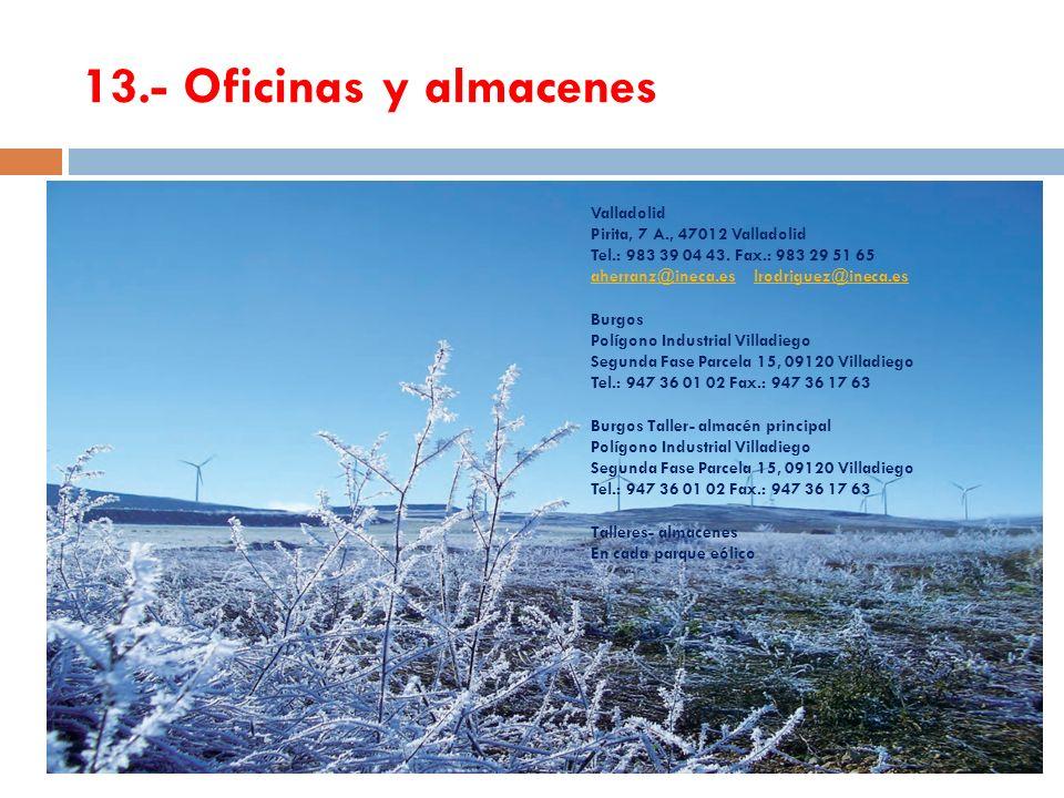 13.- Oficinas y almacenes Valladolid Pirita, 7 A., 47012 Valladolid Tel.: 983 39 04 43. Fax.: 983 29 51 65 aherranz@ineca.esaherranz@ineca.es lrodrigu