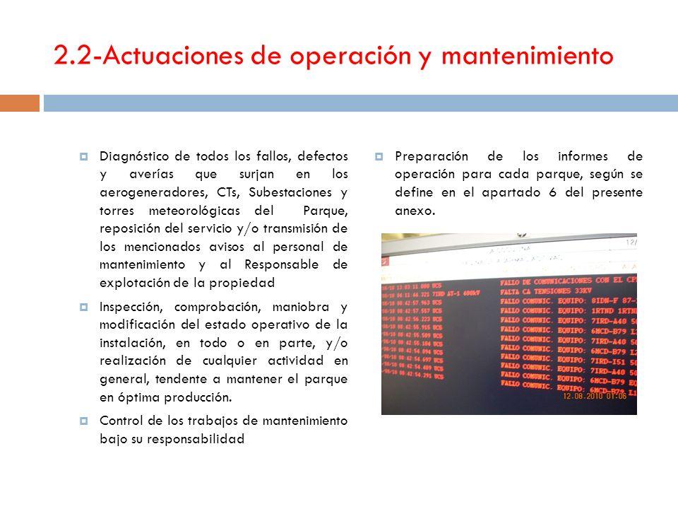 2.2-Actuaciones de operación y mantenimiento Diagnóstico de todos los fallos, defectos y averías que surjan en los aerogeneradores, CTs, Subestaciones