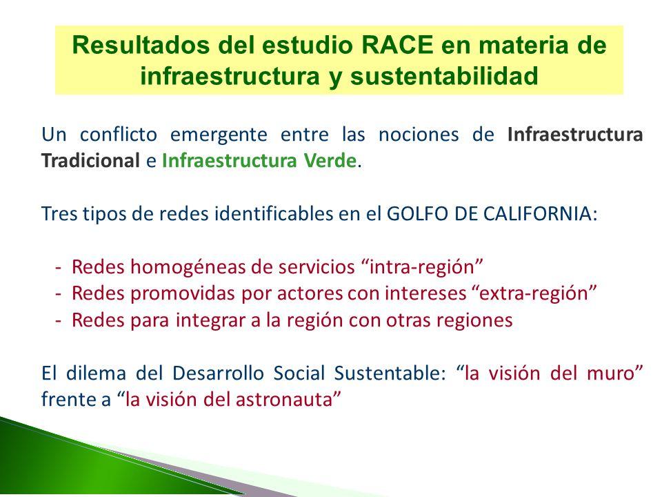 Resultados del estudio RACE en materia de infraestructura y sustentabilidad Un conflicto emergente entre las nociones de Infraestructura Tradicional e Infraestructura Verde.