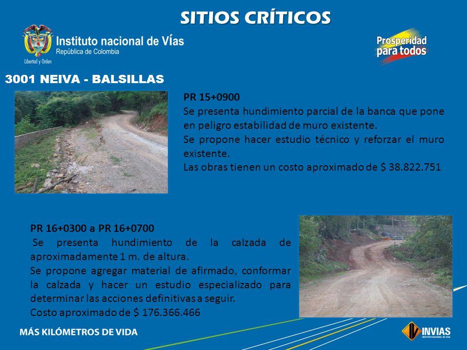 SITIOS CRÍTICOS 3001 NEIVA - BALSILLAS PR 10+0360 Se presenta pérdida parcial de la banca lado izquierdo debido al flujo del agua sobre la calzada por