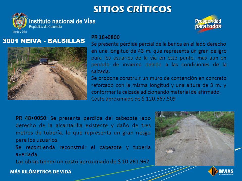 SITIOS CRÍTICOS 3001 NEIVA - BALSILLAS PR 15+0900 Se presenta hundimiento parcial de la banca que pone en peligro estabilidad de muro existente. Se pr