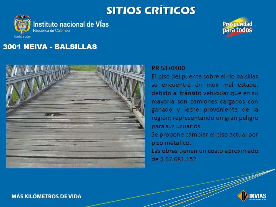 SITIOS CRÍTICOS 3001 NEIVA - BALSILLAS PR 18+0800 Se presenta pérdida parcial de la banca en el lado derecho en una longitud de 43 m. que representa u