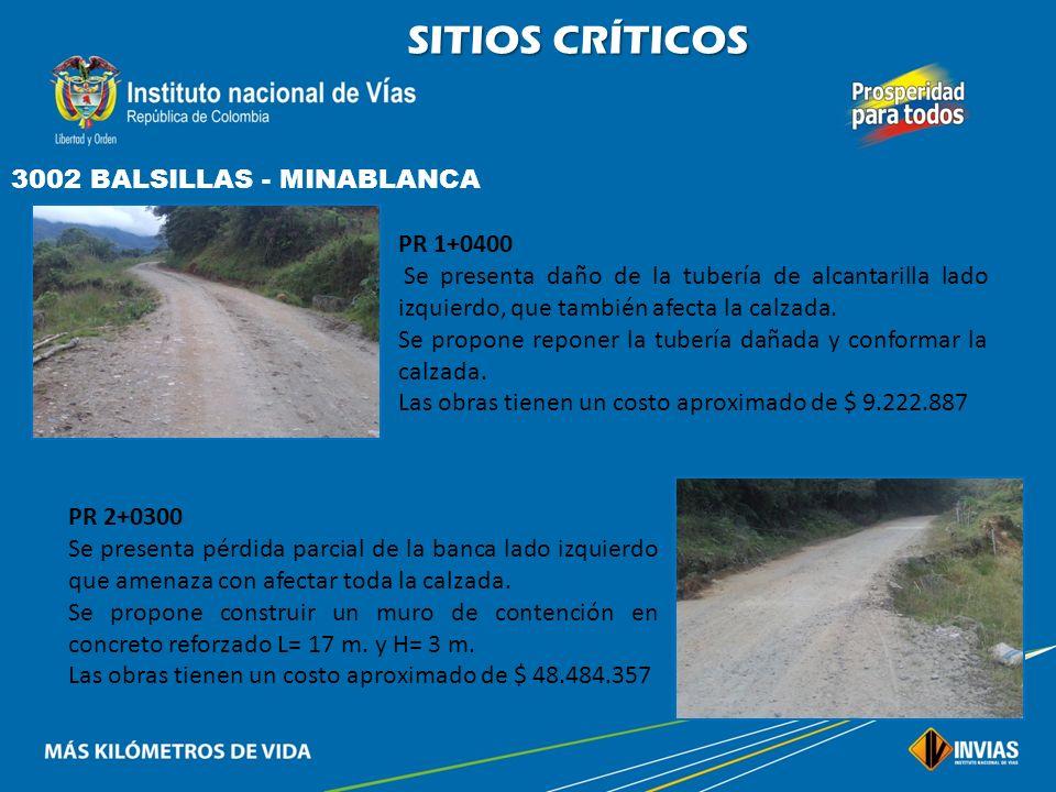SITIOS CRÍTICOS 3001 NEIVA - BALSILLAS PR 53+0400 El piso del puente sobre el río balsillas se encuentra en muy mal estado, debido al tránsito vehicul