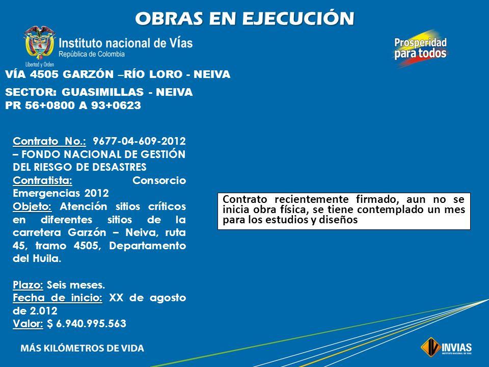 OBRAS EN EJECUCIÓN VÍA 45HL01 HOBO - YAGUARÁ SECTOR: HOBO – INSPECCIÓN DE LETRÁN PR 2+0300 A 5+0800 Contrato No. Contrato No.: 471 de 2.012 – INVIAS C