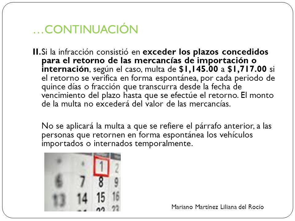 …CONTINUACIÓN II.Si la infracción consistió en exceder los plazos concedidos para el retorno de las mercancías de importación o internación, según el