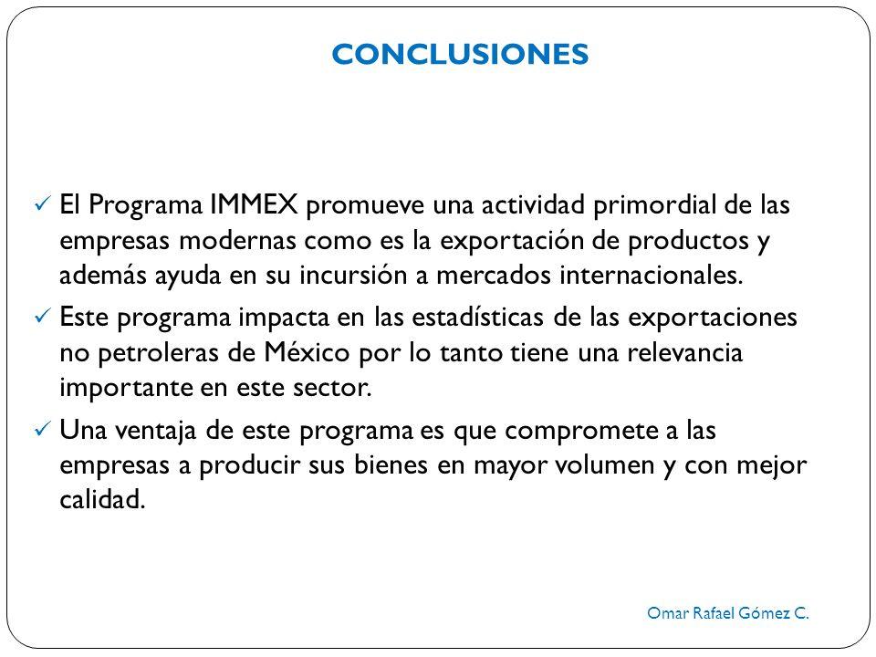 CONCLUSIONES Omar Rafael Gómez C. El Programa IMMEX promueve una actividad primordial de las empresas modernas como es la exportación de productos y a