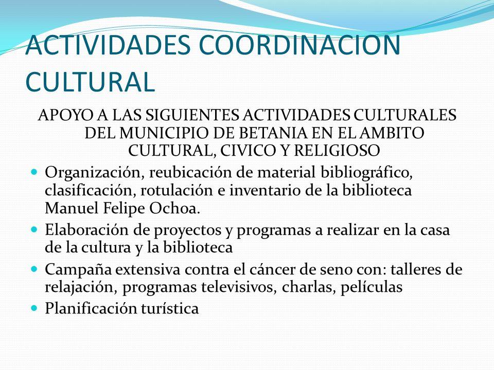 ACTIVIDADES DE DANZA Talleres de danza folklórica Talleres de danza moderna Con la participación de los niños y niñas del muinicipio de Betania.