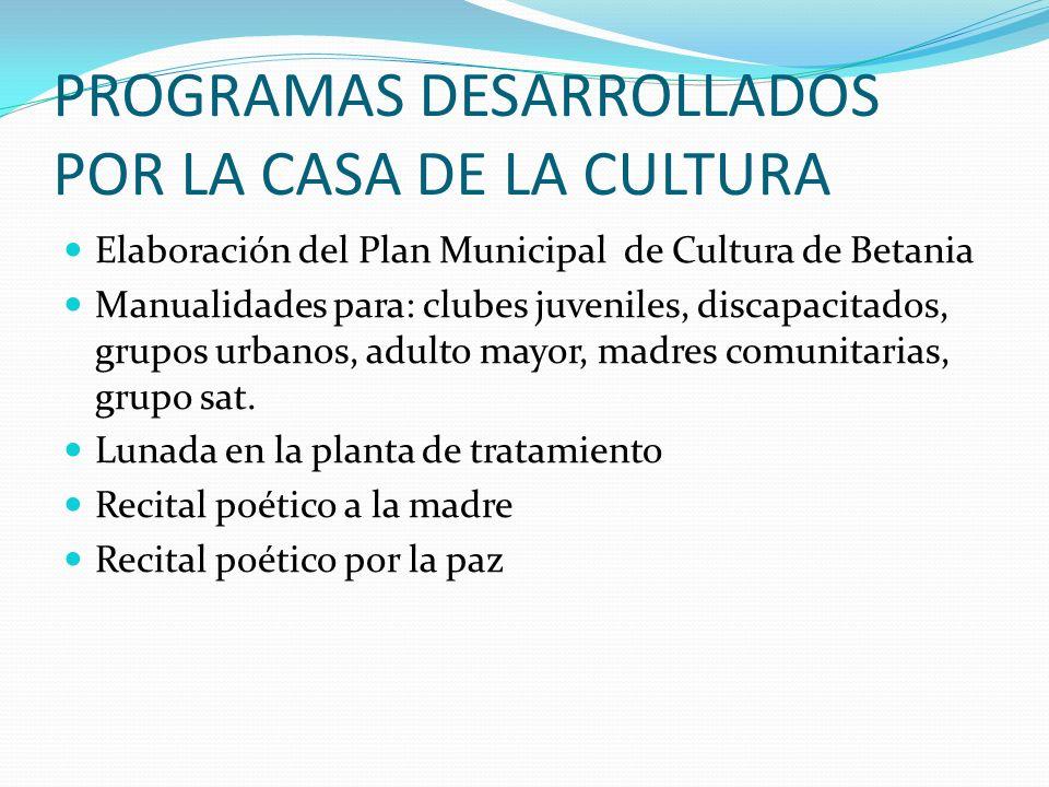 PROGRAMAS REALIZADOS POR LA COORDINACION DE CULTURA Elaboración de programas y proyectos a presentar a las diferentes entidades para la consecución de