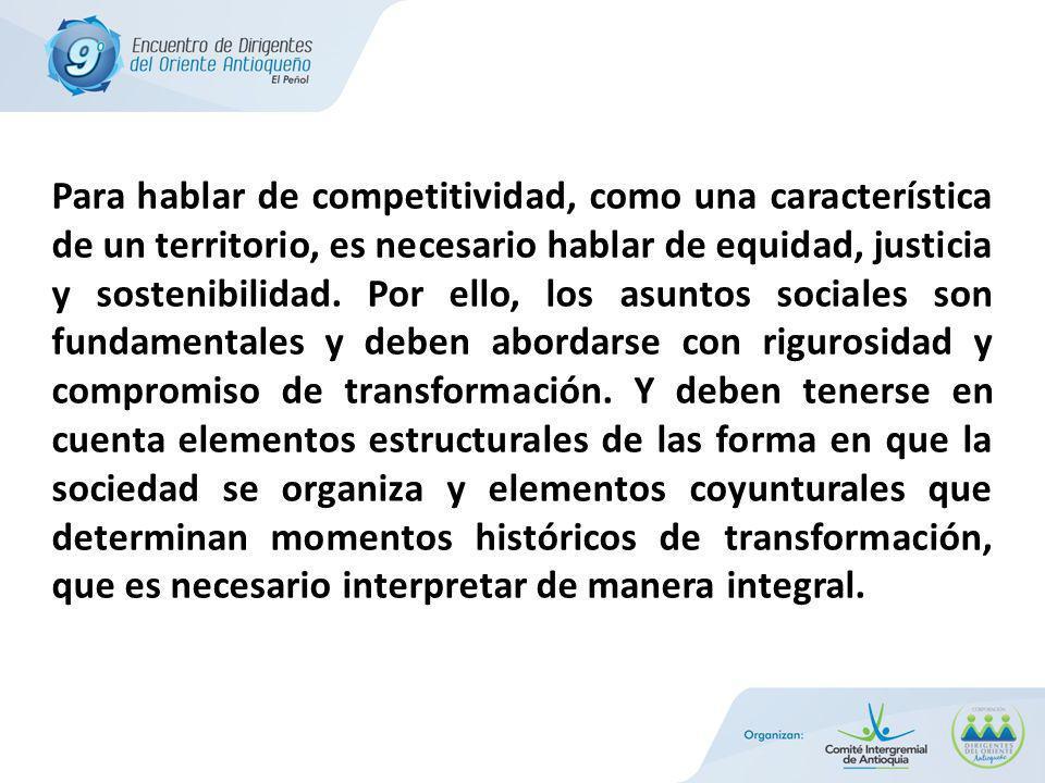 Para hablar de competitividad, como una característica de un territorio, es necesario hablar de equidad, justicia y sostenibilidad.