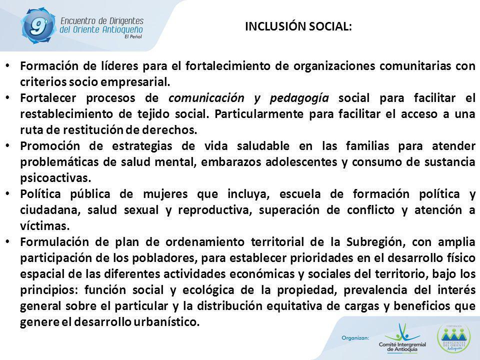 Formación de líderes para el fortalecimiento de organizaciones comunitarias con criterios socio empresarial.
