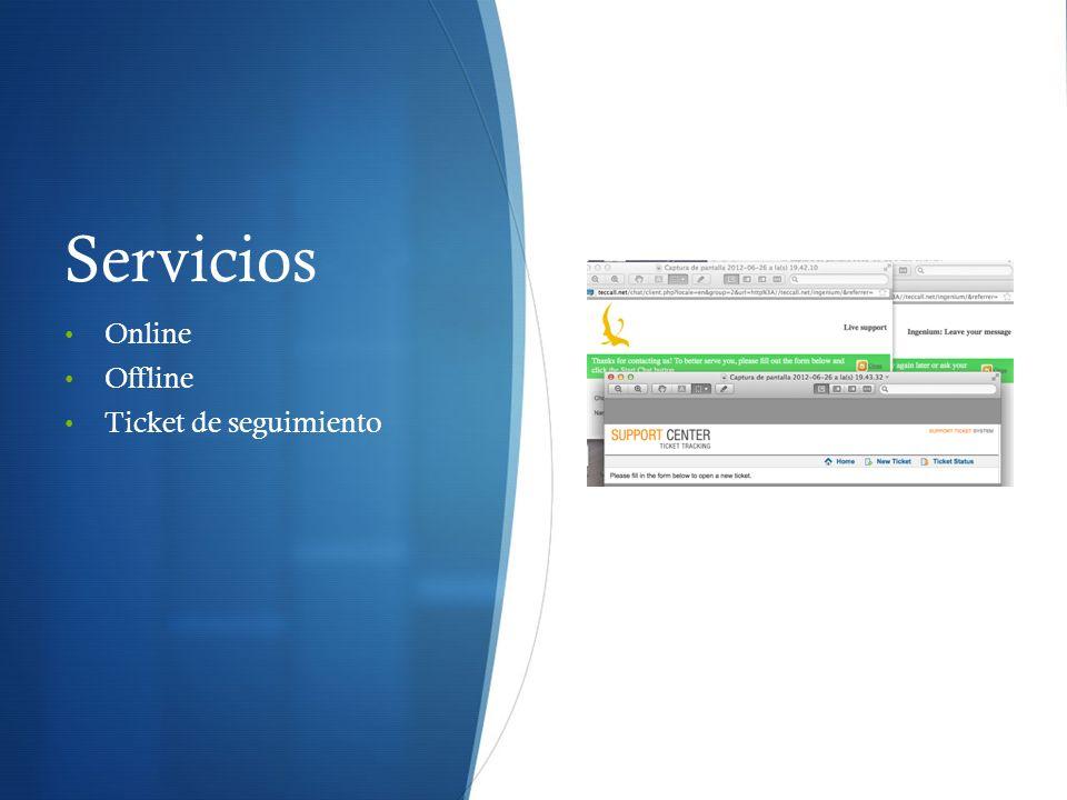 Servicios Online Offline Ticket de seguimiento