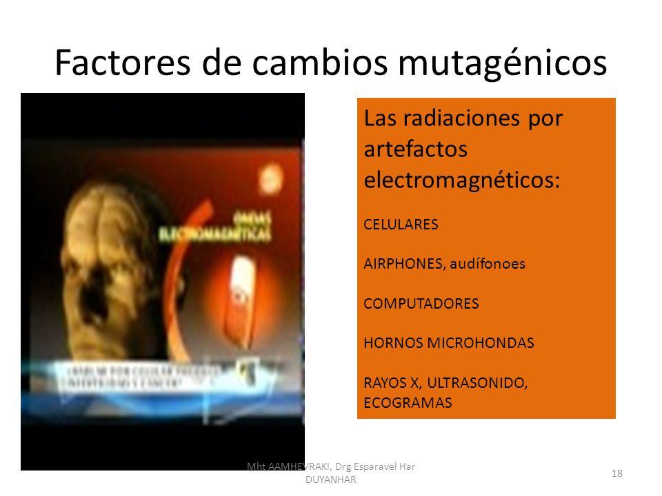 Factores de cambios mutagénicos Las radiaciones por artefactos electromagnéticos: CELULARES AIRPHONES, audífonoes COMPUTADORES HORNOS MICROHONDAS RAYO