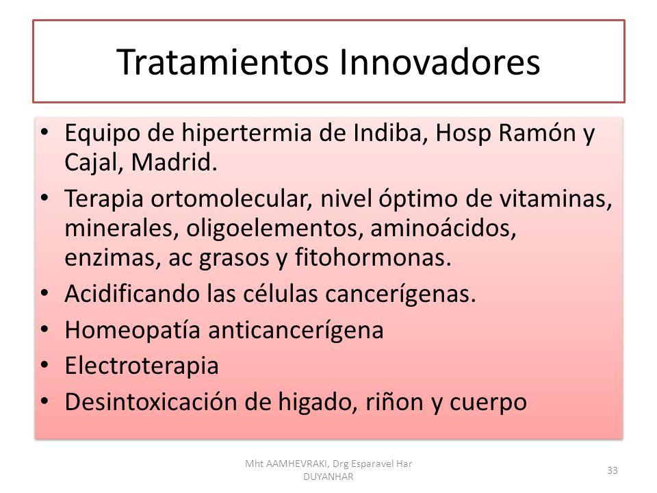 Tratamientos Innovadores Equipo de hipertermia de Indiba, Hosp Ramón y Cajal, Madrid. Terapia ortomolecular, nivel óptimo de vitaminas, minerales, oli