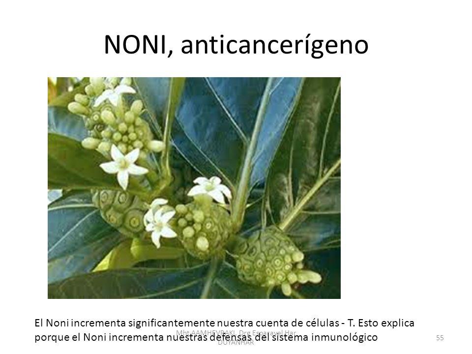 NONI, anticancerígeno El Noni incrementa significantemente nuestra cuenta de células - T. Esto explica porque el Noni incrementa nuestras defensas del