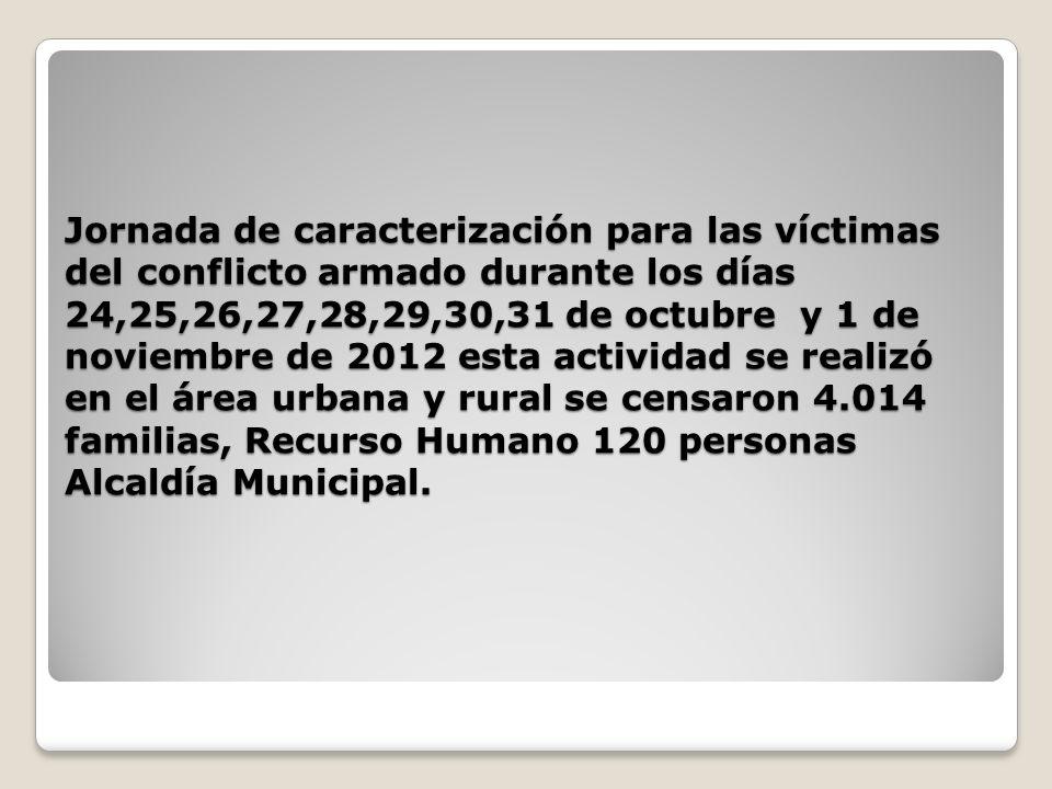 Jornada de caracterización para las víctimas del conflicto armado durante los días 24,25,26,27,28,29,30,31 de octubre y 1 de noviembre de 2012 esta ac