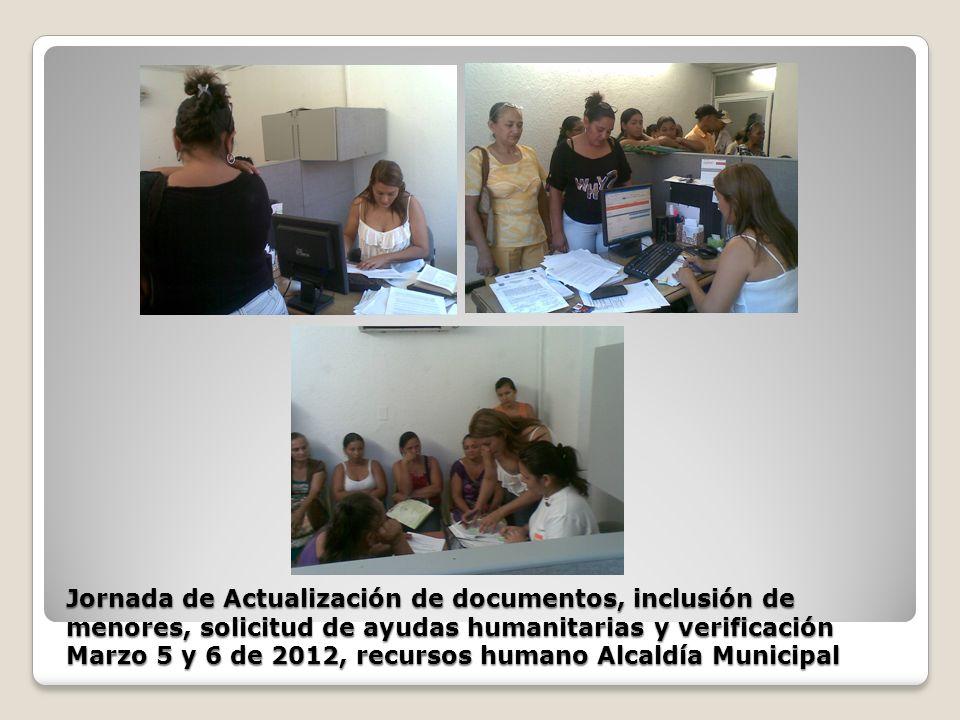 Jornada de Actualización de documentos, inclusión de menores, solicitud de ayudas humanitarias y verificación Marzo 5 y 6 de 2012, recursos humano Alc