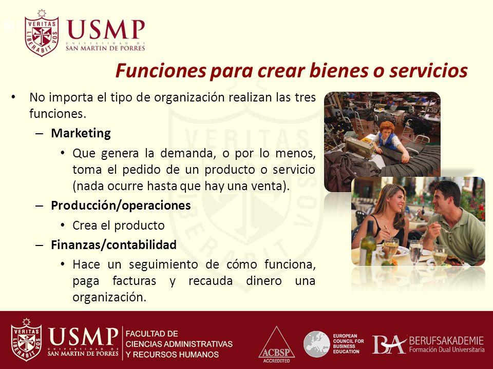 Funciones para crear bienes o servicios No importa el tipo de organización realizan las tres funciones. – Marketing Que genera la demanda, o por lo me