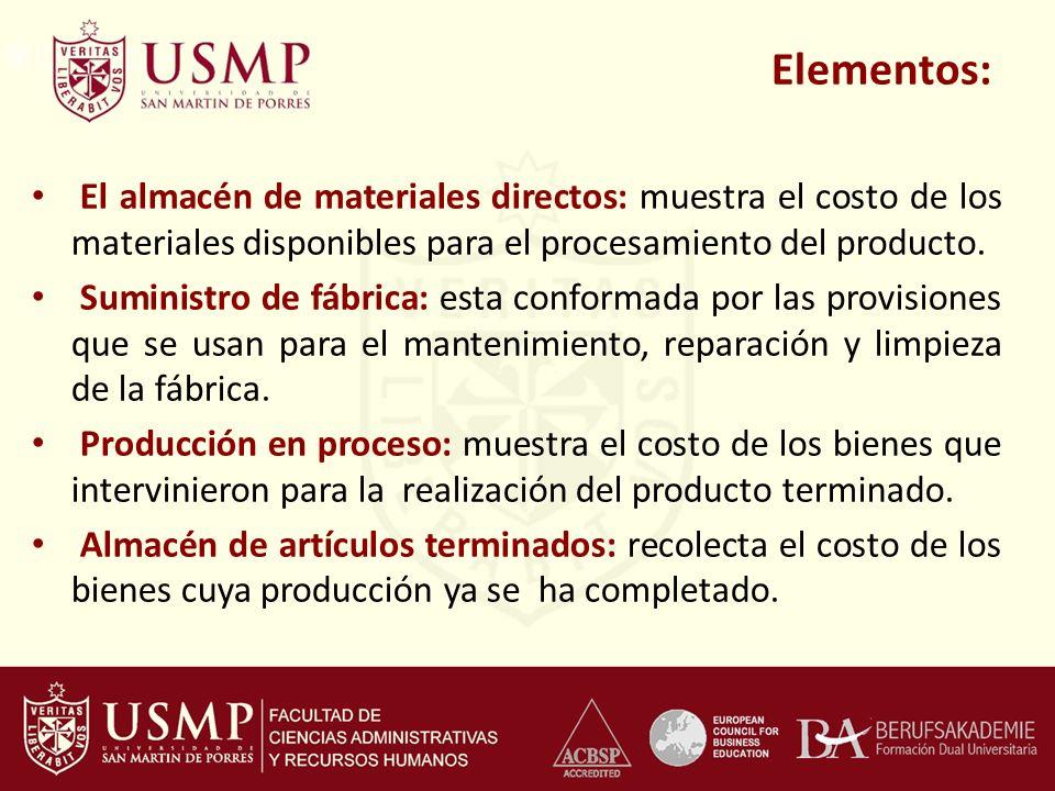Elementos: El almacén de materiales directos: muestra el costo de los materiales disponibles para el procesamiento del producto. Suministro de fábrica