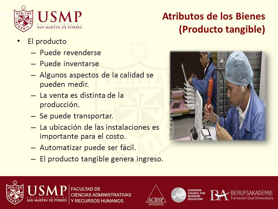 El producto – Puede revenderse – Puede inventarse – Algunos aspectos de la calidad se pueden medir. – La venta es distinta de la producción. – Se pued