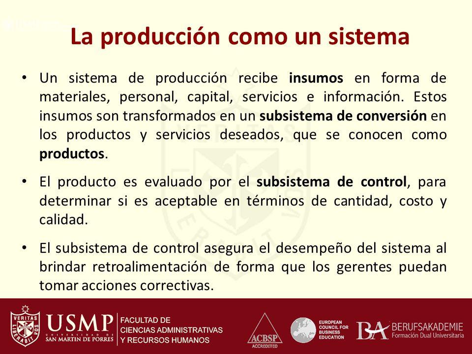La producción como un sistema Un sistema de producción recibe insumos en forma de materiales, personal, capital, servicios e información. Estos insumo