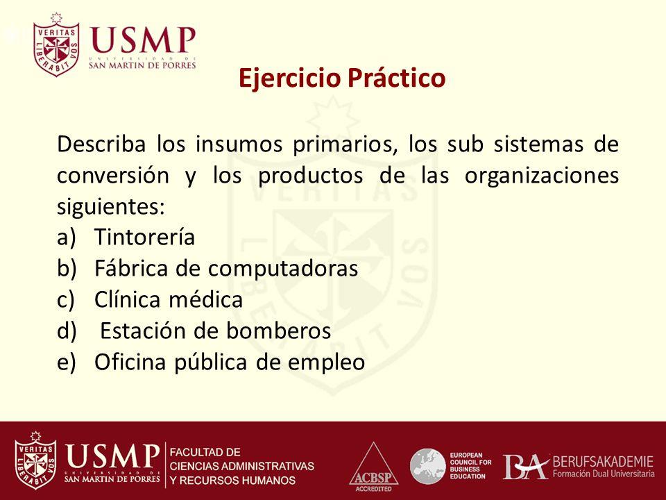 Ejercicio Práctico Describa los insumos primarios, los sub sistemas de conversión y los productos de las organizaciones siguientes: a)Tintorería b)Fáb