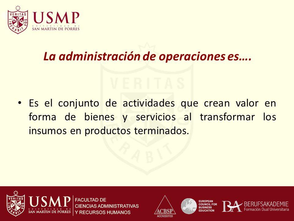 La administración de operaciones es…. Es el conjunto de actividades que crean valor en forma de bienes y servicios al transformar los insumos en produ