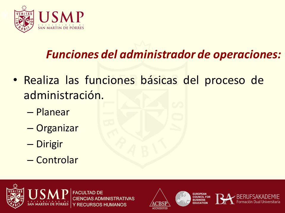 Funciones del administrador de operaciones: Realiza las funciones básicas del proceso de administración. – Planear – Organizar – Dirigir – Controlar