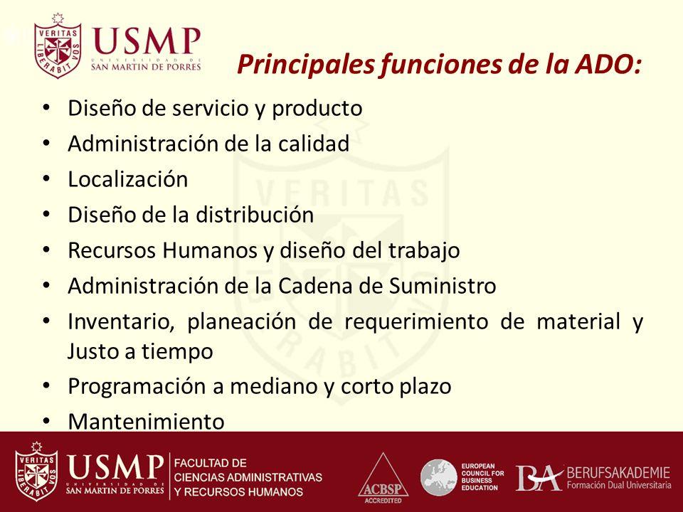 Principales funciones de la ADO: Diseño de servicio y producto Administración de la calidad Localización Diseño de la distribución Recursos Humanos y