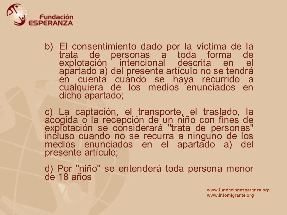 b)El consentimiento dado por la víctima de la trata de personas a toda forma de explotación intencional descrita en el apartado a) del presente artícu