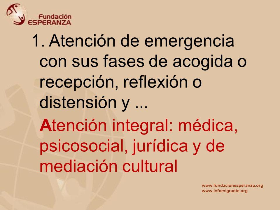 1. Atención de emergencia con sus fases de acogida o recepción, reflexión o distensión y... Atención integral: médica, psicosocial, jurídica y de medi