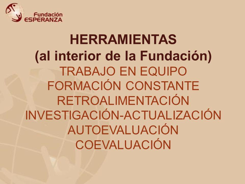 HERRAMIENTAS (al interior de la Fundación) TRABAJO EN EQUIPO FORMACIÓN CONSTANTE RETROALIMENTACIÓN INVESTIGACIÓN-ACTUALIZACIÓN AUTOEVALUACIÓN COEVALUA