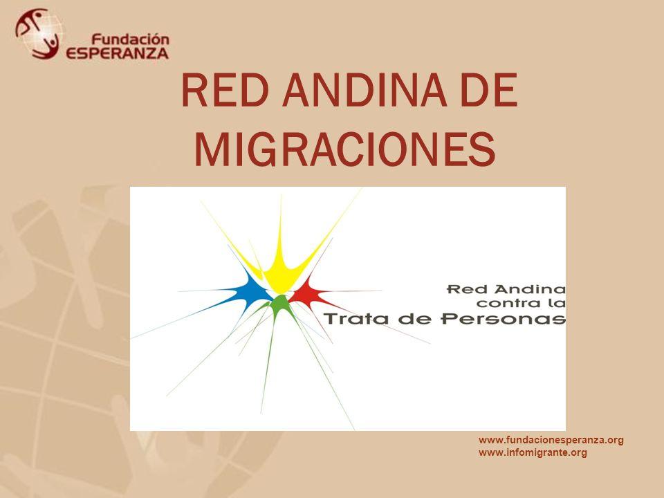 RED ANDINA DE MIGRACIONES www.fundacionesperanza.org www.infomigrante.org