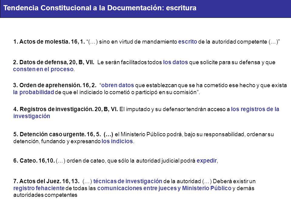 1. Actos de molestia. 16, 1. (…) sino en virtud de mandamiento escrito de la autoridad competente (…) 2. Datos de defensa, 20, B, VII. Le serán facili