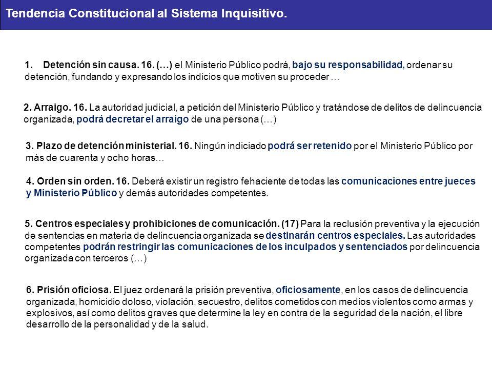 1.Detención sin causa. 16. (…) el Ministerio Público podrá, bajo su responsabilidad, ordenar su detención, fundando y expresando los indicios que moti