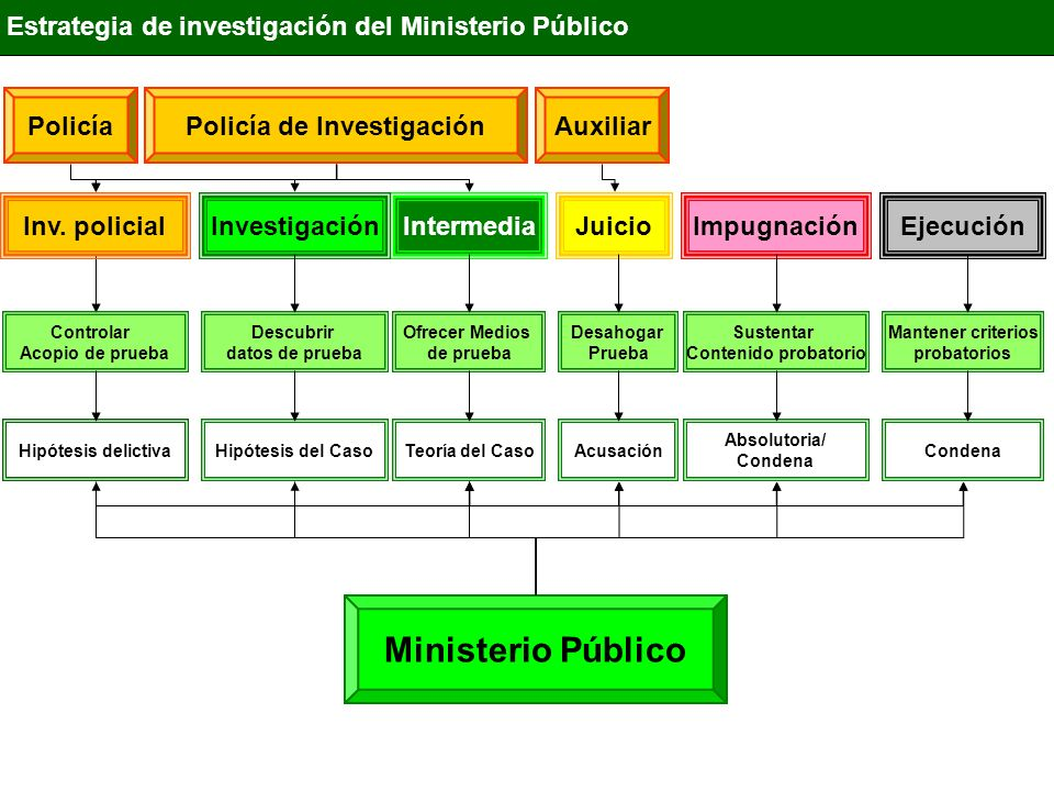 IntermediaInvestigaciónJuicioImpugnaciónEjecución Estrategia de investigación del Ministerio Público Ministerio Público Descubrir datos de prueba Ofre