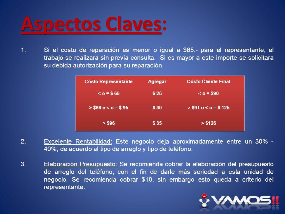 Aspectos Claves Aspectos Claves: 1.Si el costo de reparación es menor o igual a $65.- para el representante, el trabajo se realizara sin previa consul