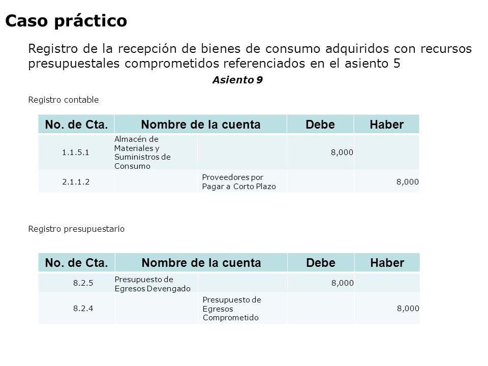 Caso práctico Registro de la recepción de bienes de consumo adquiridos con recursos presupuestales comprometidos referenciados en el asiento 5 Asiento