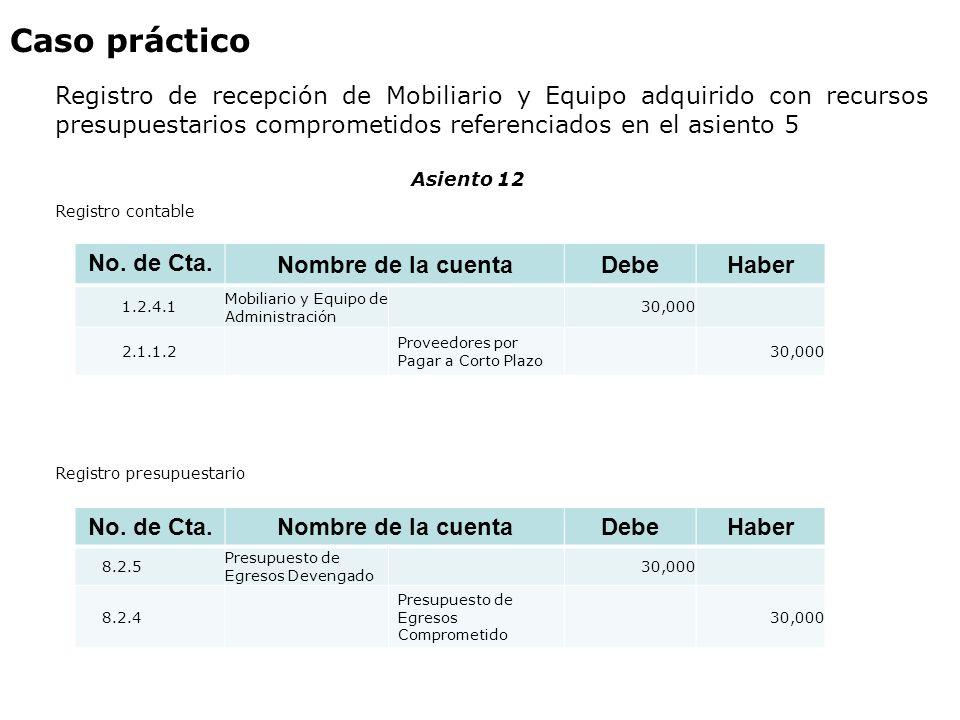 Caso práctico Registro de recepción de Mobiliario y Equipo adquirido con recursos presupuestarios comprometidos referenciados en el asiento 5 Asiento