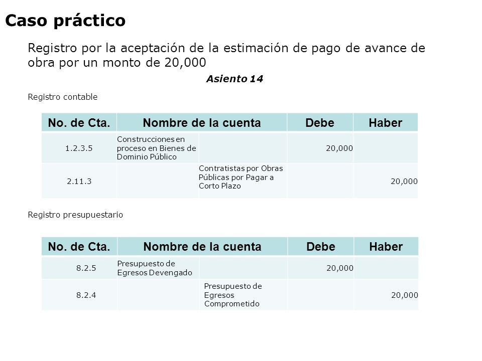 Caso práctico Registro por la aceptación de la estimación de pago de avance de obra por un monto de 20,000 No. de Cta. Nombre de la cuentaDebeHaber 1.