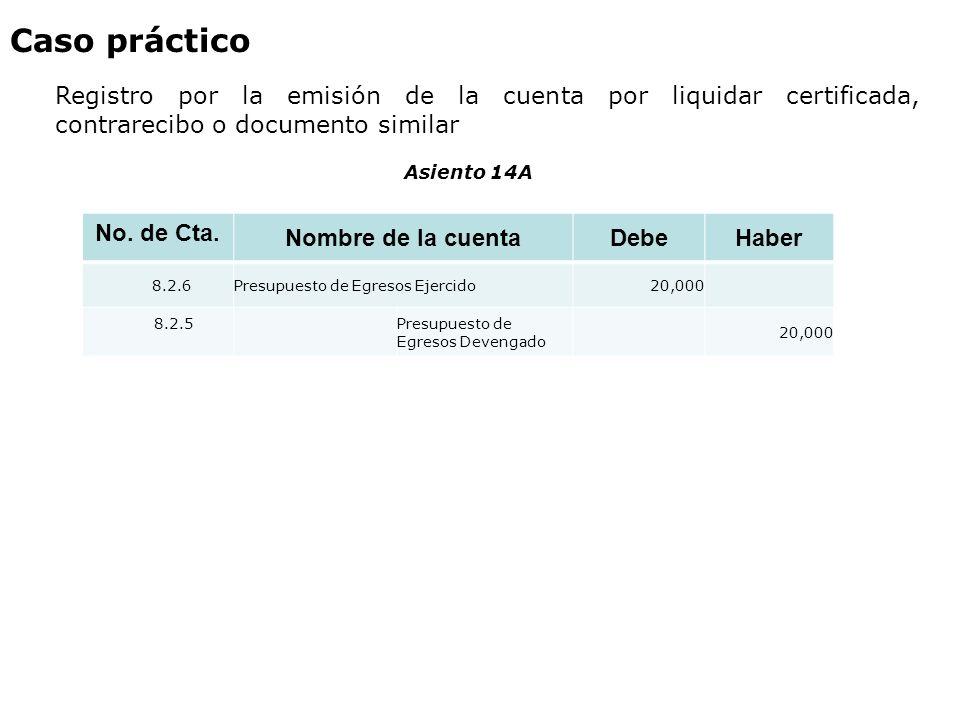 Caso práctico Registro por la emisión de la cuenta por liquidar certificada, contrarecibo o documento similar No. de Cta. Nombre de la cuentaDebeHaber
