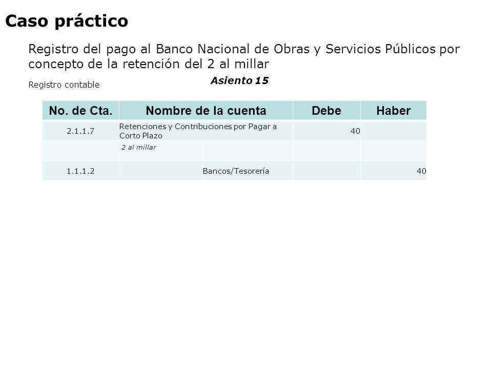 Caso práctico Registro del pago al Banco Nacional de Obras y Servicios Públicos por concepto de la retención del 2 al millar No. de Cta. Nombre de la
