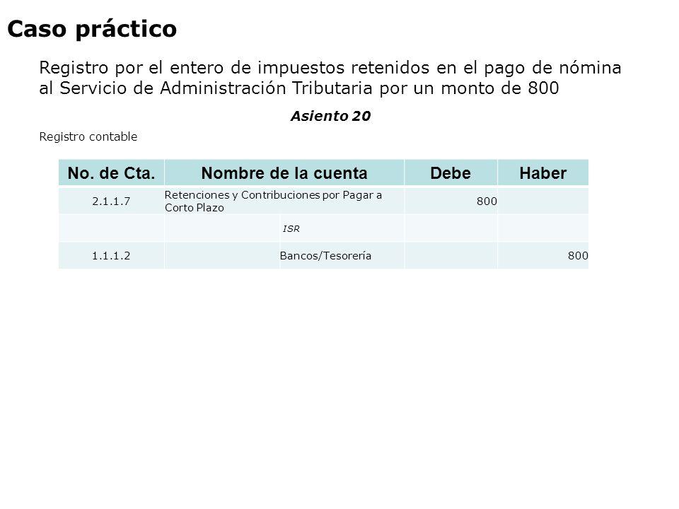 Caso práctico Registro por el entero de impuestos retenidos en el pago de nómina al Servicio de Administración Tributaria por un monto de 800 No. de C