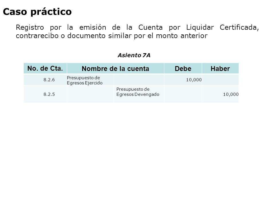 Caso práctico Registro por la emisión de la Cuenta por Liquidar Certificada, contrarecibo o documento similar por el monto anterior No. de Cta. Nombre