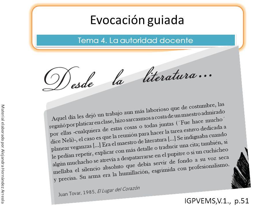 Evocación guiada Tema 4. La autoridad docente Material elaborado por Alejandra Hernández Arreola IGPVEMS,V.1., p.51