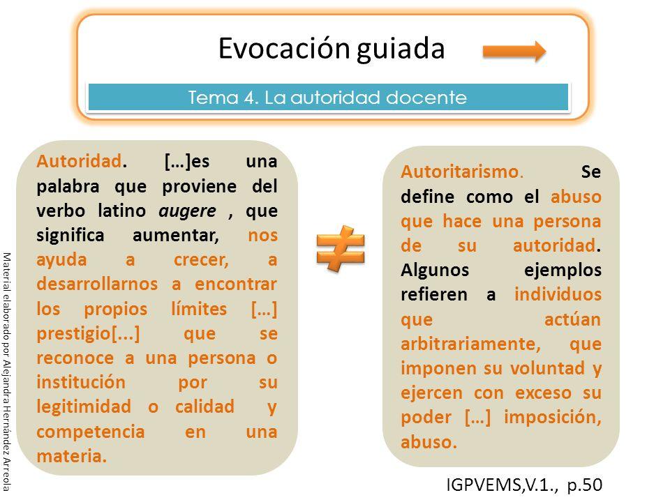 Evocación guiada Tema 4. La autoridad docente Material elaborado por Alejandra Hernández Arreola IGPVEMS,V.1., p.50 Autoridad Autoritarismo. Se define