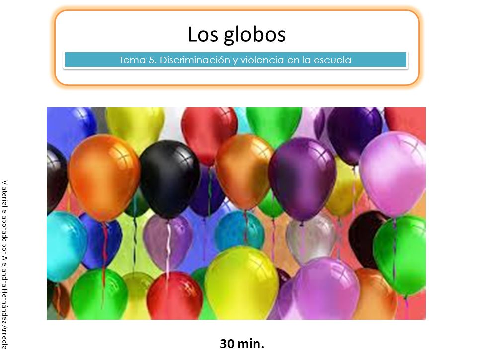 Material elaborado por Alejandra Hernández Arreola Los globos 30 min. Tema 5. Discriminación y violencia en la escuela